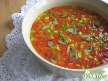 Zupa z soczewicą, papryką i pieczarkami