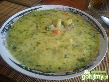 Zupa ze smażonym szpinakiem