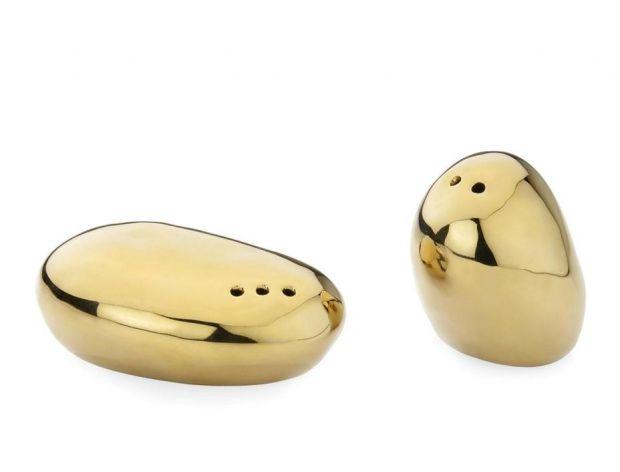Solniczka i pieprzniczka w kolorze złota