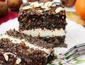 Ciasto/tort makowy z czekoladą, migdałami i kremem