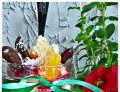 Deser lodowy pomarańczowo - żurawinowy