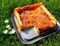 Francuska tarta serowa  z musem rabarbarowym