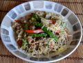 Potrawka z kaszą, szparagami oraz  jagnięciną