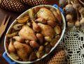 Przepiórki pieczone z grzybami