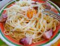 Spaghetti carbonara z żółtkiem