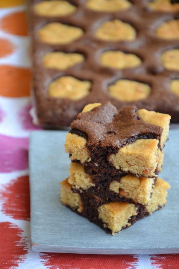 Brownie z fistaszkowymi ciasteczkami