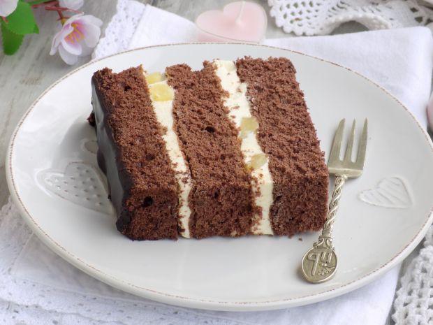 Ciasto biszkoptowe z kremem budyniowym i ananasem