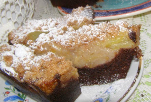 Ciasto kakaowe z jabłkami,kruszonką