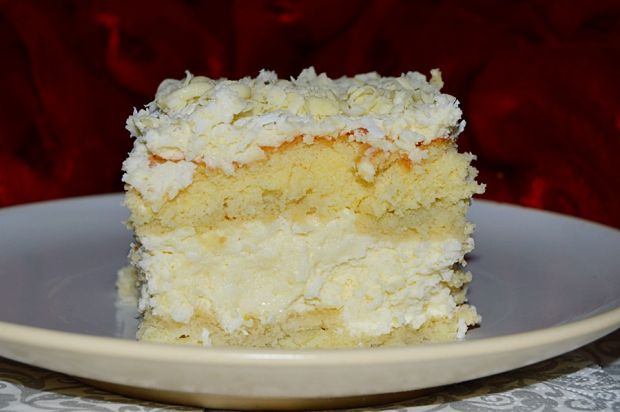 Ciasto rafaello na biszkopcie z białą czekoladą