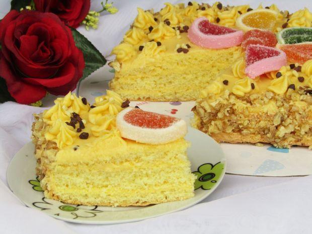 Ciasto tortowe z masą jajeczną