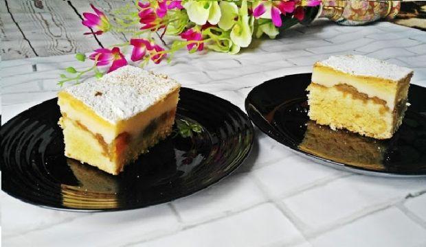 Ciasto ucierane z budyniem i jabłkami