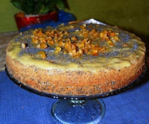 Ciasto z makiem i kremem waniliowym.