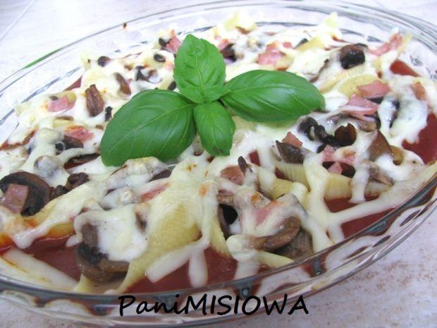 Conchiglioni z pieczarkami i mozzarellą