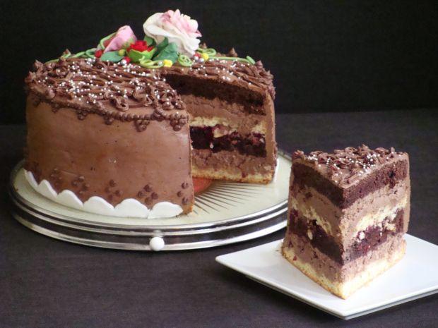 Czekoladowo-czekoladowy i kawowy  tort
