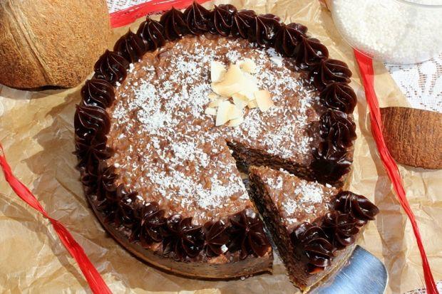 Czekoladowo-kokosowy torcik z perełek tapioki