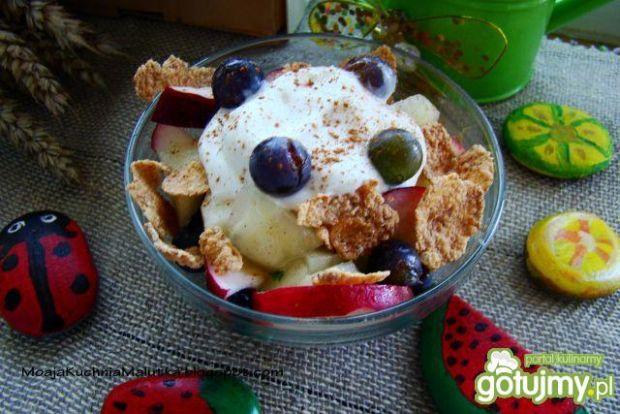 Dietetyczny deser jabłkowy z winogronami