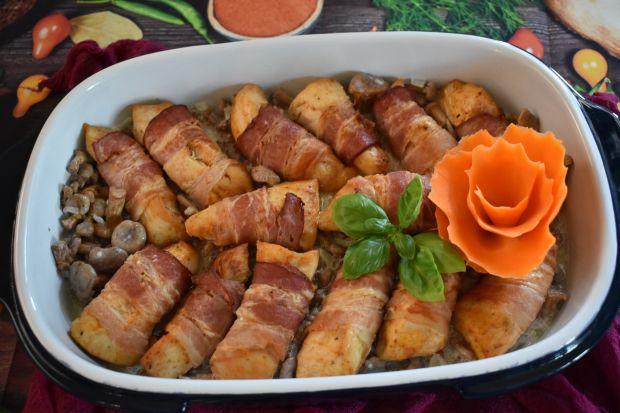 Filety z kurczaka w boczku z kurkami
