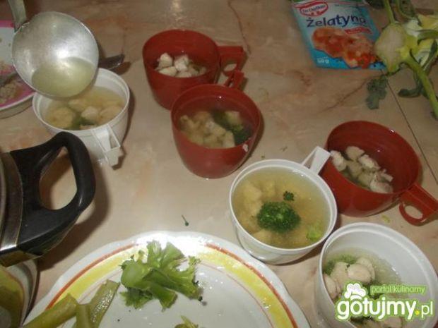 Galaretki brokułowo-kurczakowe.