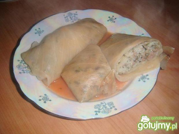 Gołąbki ze szpinakiem i pieczarkami