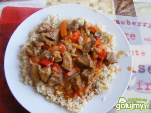 Indyk w sosie słodko-kwaśnym z  ryżem