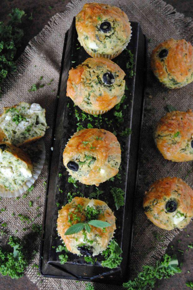 Jarmużowe, wytrawne muffinki
