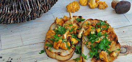 Jesienna kanapka z kurkami