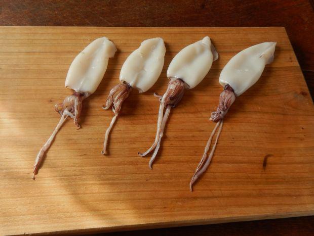 Kalmary faszerowane łososiem w sosie ziołowym