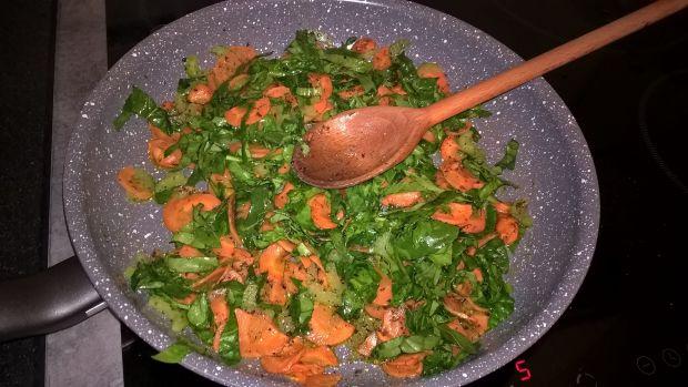 Kasza z marchewką i szpinakiem