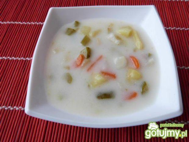 Kolorowa zupa ogórkowa z ziemniakami