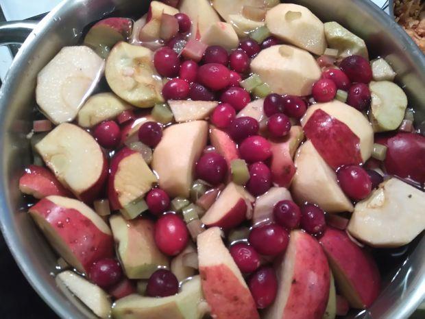 Kompot jabłkowy z żurawiną i aronią
