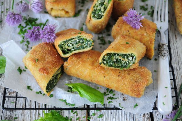 Krokiety ze szpinakiem i białym serem