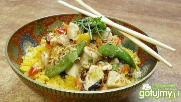 Kurczak kokosowy z ryżem curry