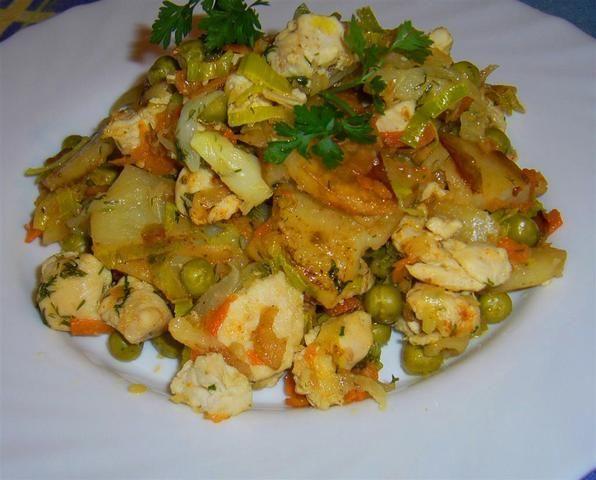 Kurczak w smacznych warzywach