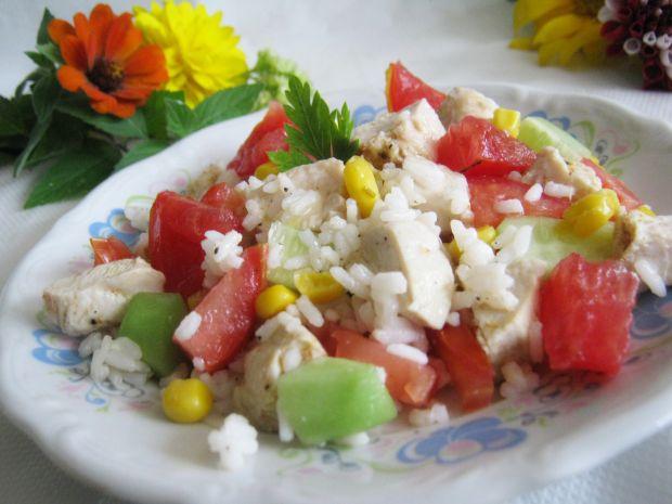 Kurczak z ryżem pomidorem i ogórkiem