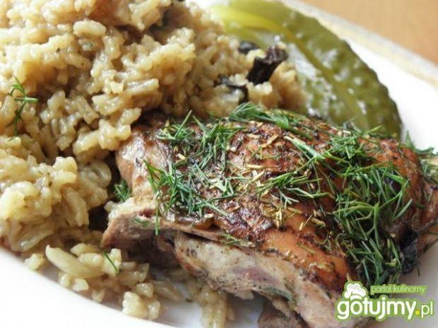 Kurczak zapiekany z ryżem grzybowym.