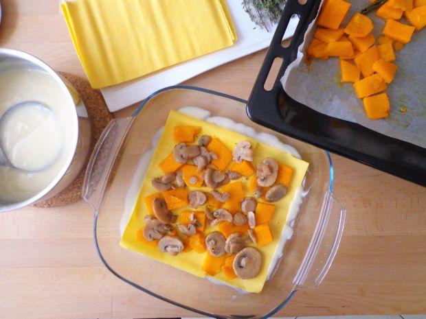 Lasagne z dynią i pieczarkami