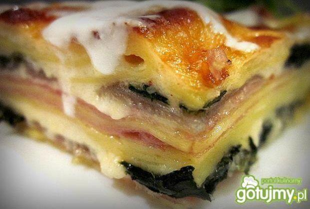 Lasagne ze szpinakiem i szynką