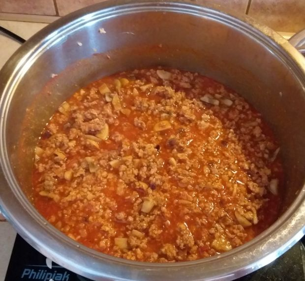 Lazania z pomidorowym sosem mięsnym i beszamelem