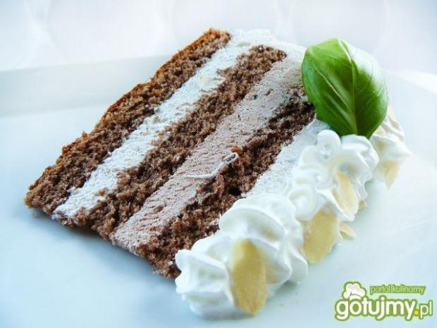 Lekki tort śmietankowo - kakaowy