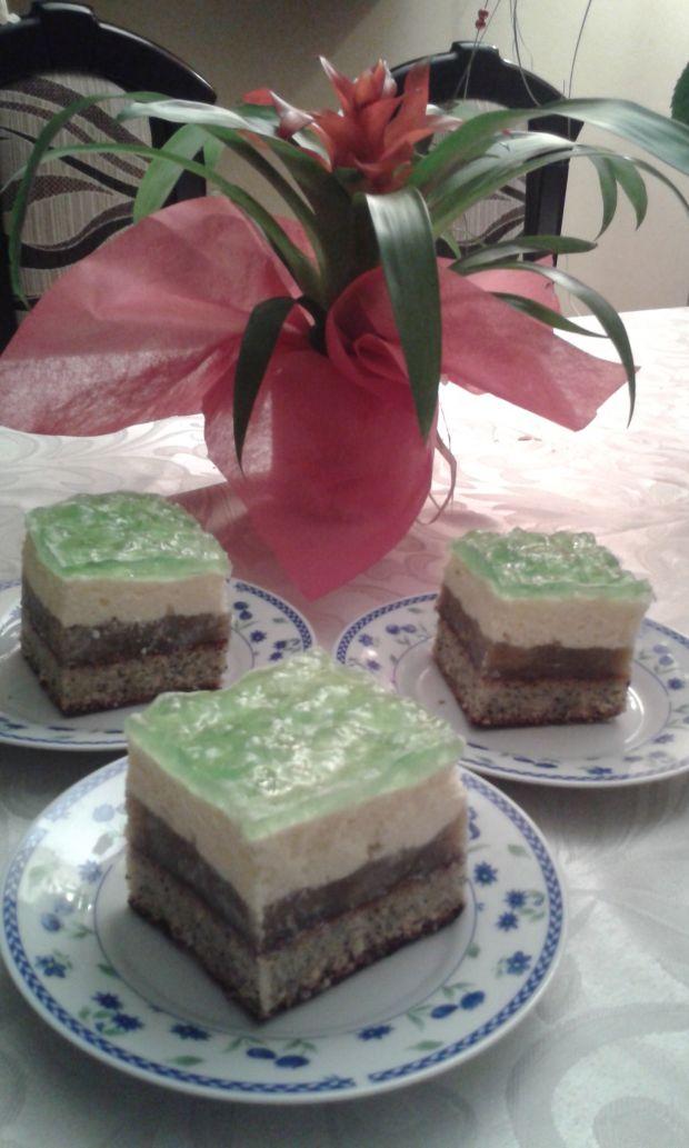 Makowe - jabłkowe ciasto z galaretką