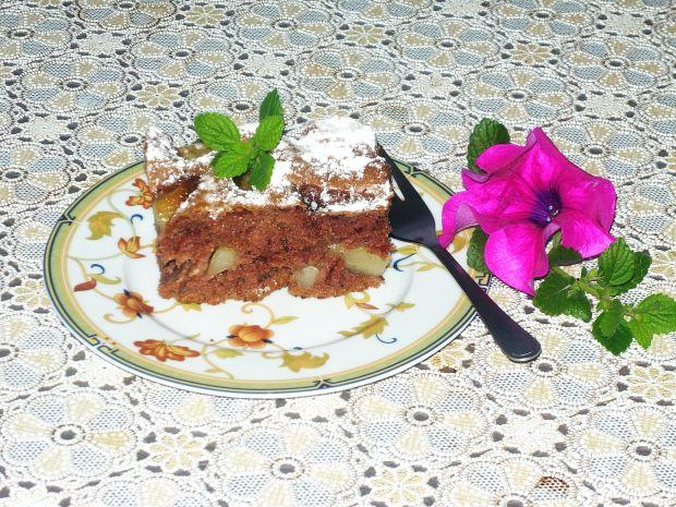 Makowo- orzechowe ciasto z gruszkami