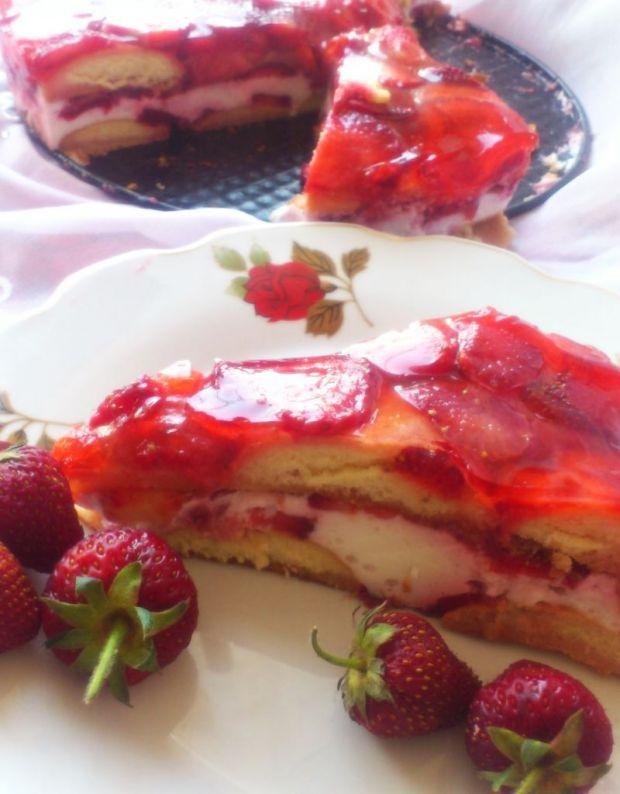 Maksi truskawkowe ciasto na zimno wg Di