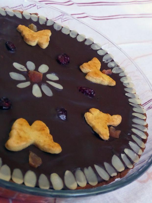 Mazurek z konfiturą i gorzką czekoladą