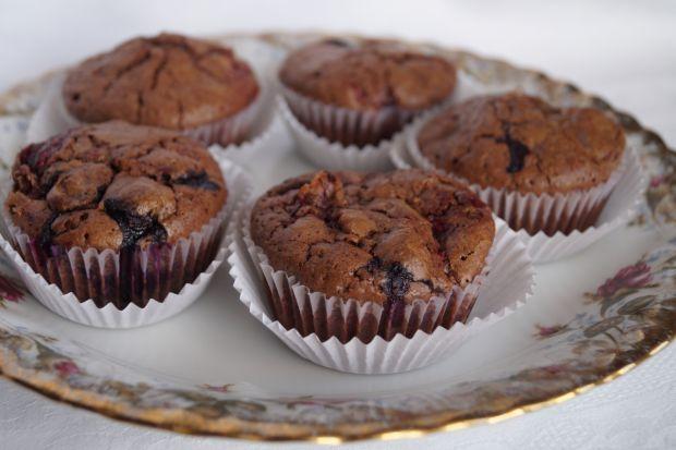 Mini brownie z malinami