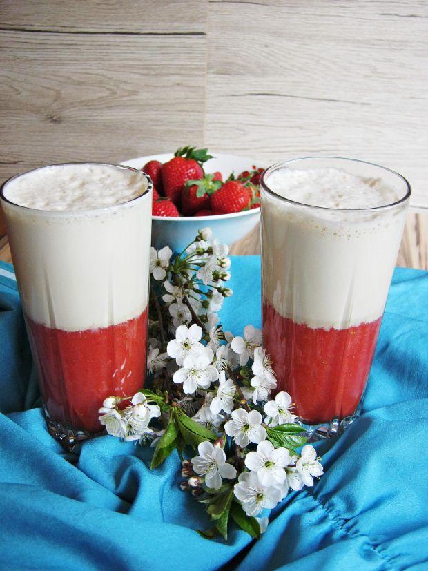 Mleczny koktajl kawowo-truskawkowy