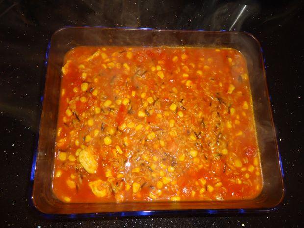 Mocno pomidorowa zapiekanka z kurczakiem