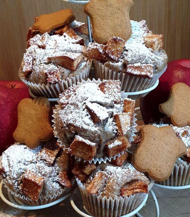 Muffinki bananowe z jabłkami - wegańskie
