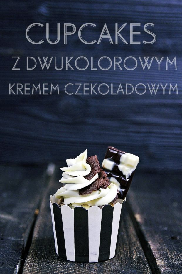 Muffinki dwukolorowe z dwukolorowym kremem