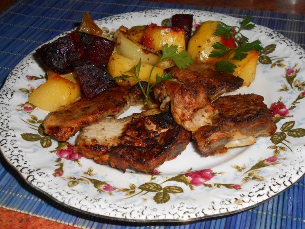 Musztardowe żeberka pieczone z warzywami