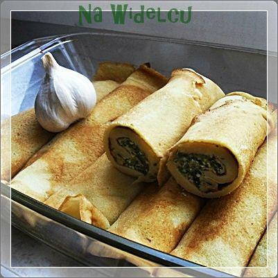 Naleśniki ze szpinakiem i serem na orzechach